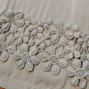 BONGO Semi Sheer Blue Flower Embroidered Crop Top